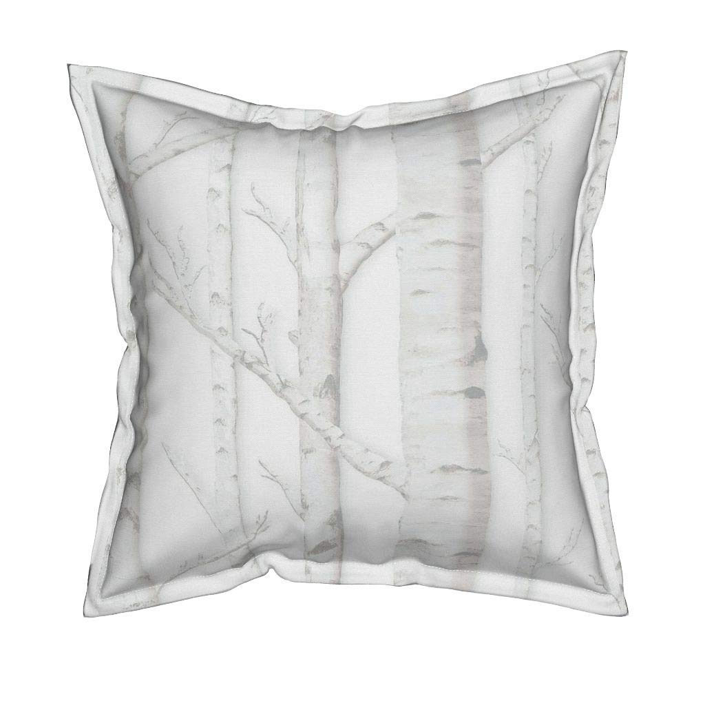 Roostery Birch Grove Silky Faille Throw Pillow - Birch Trees Forest Nature Aspen Trees Woods by Willowlanetextiles - Flanged Cover and Insert Included