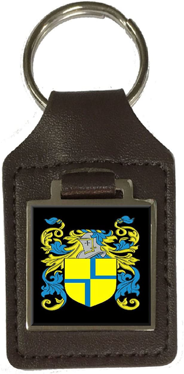 Wary Family Crest Surname Coat Of Arms Brown Leather Keyring Engraved