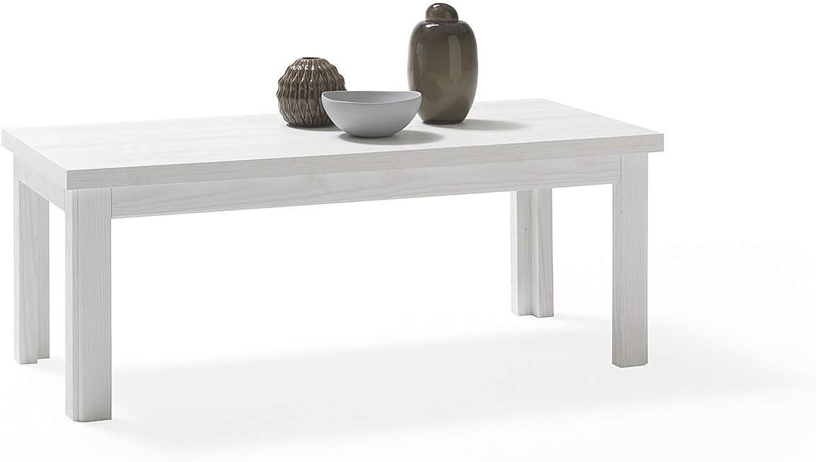 Made in Italy Tavolino caff/è ARHome Tavolino Basso da Salotto 100 x 45 x 38 Bianco Frassinato