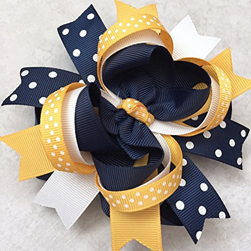 Navy Yellow Gold White Hair Bow, Handmade Navy Yellow White School Uniform Hair Bow, Private School Uniform Hair Clip by BETHLAND BOUTIQUE