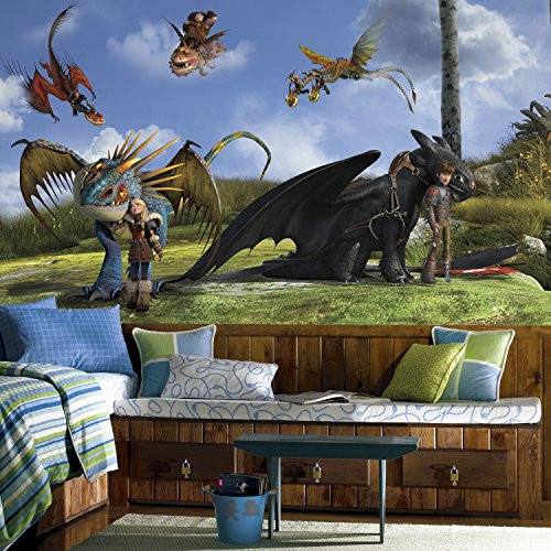 RoomMates JL1409M How To Train Your Dragon Character XL Chair Rail Prepasted Mural, 6 x 10.5'