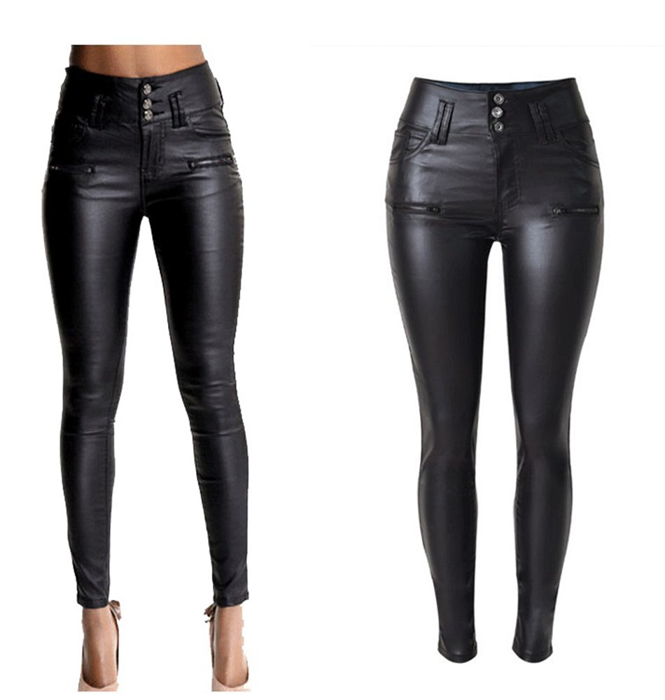 PU Leather Pants For Women Sexy Tight Stretchy Rider Leggings coffee (US 6, Black 2)