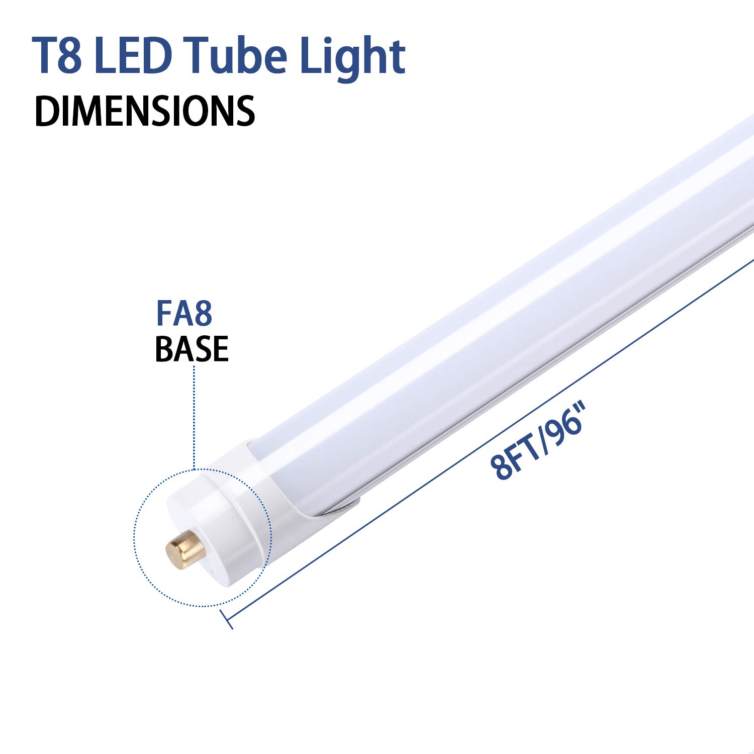 Fluorescent Light Bulbs Replacement TRLIFE 8FT LED Tube Light Dual-End Powered T8 8FT LED Bulbs 45W 5000K Daylight White FA8 Base LED Tube Lights 5400Lumens 12Pack Frosted Cover