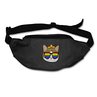 Yahui Cute Cat With Gay Pride Sunglasses Waist Bag Fanny Pack / Hip Pack Bum Bag For Man Women Sports Travel Running Hiking / Money IPhone 6 / 7 6S / 7S Plus Samsung S5/S6