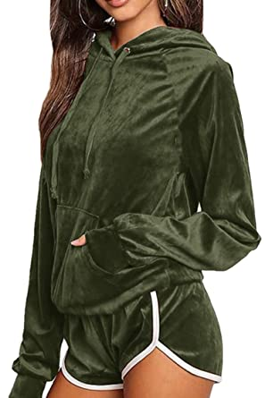 4505ce401d96 2017 Trendy Teens Hooded Pullover Tops Velvet Sweatshirts Winter Sport 2  Piece Outfits Army Green