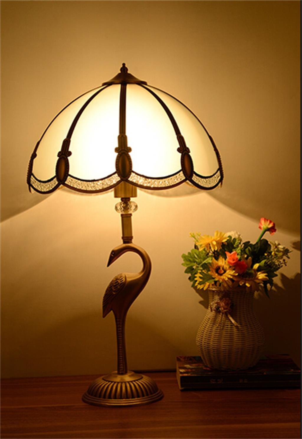 Retro Tischleuchte kontinental warm kreativ Salon Schlafzimmer Kupferlampen einfach Kunst Klassik Nachttischlampe