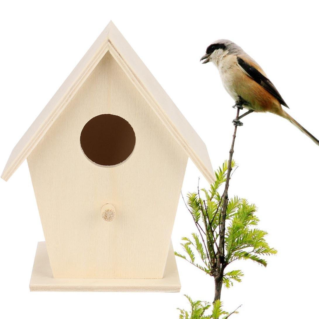HP95 Wood Nest House Birds Wooden House Wren Home Cedar Birdhouse (B)