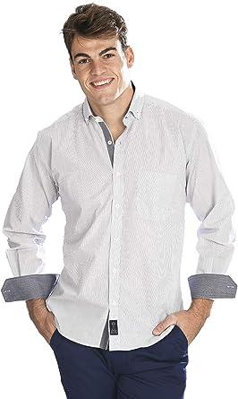 Camisa Manga Larga Blanca con Rayas Finas de Color Negro para Hombre - 5_XL, Negro: Amazon.es: Ropa y accesorios
