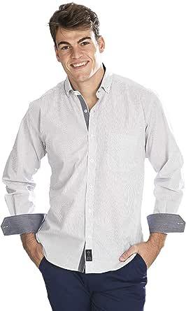 Camisa Manga Larga Blanca con Rayas Finas de Color Negro para ...