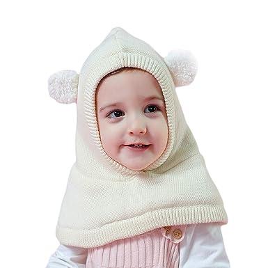 Arcweg Chapeaux Hiver pour Garçons Filles Thermique en Tricoté Coupe-Vent Cagoule  Enfants Bonnet avec 673351b55cb