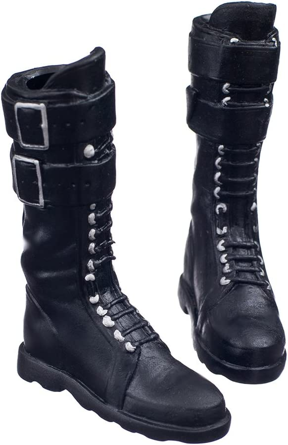 "Black 1//6 lace Up Buckle Flat Long Boots Shoes For 12/"" Female Figure Body"