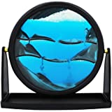 """Relaxus Round Zen Sands Art Display. 9"""" Decorative Tabletop Moving Sand Picture."""