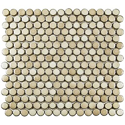 """SomerTile FKOMPR71 Penny Truffle Porcelain Mosaic Floor and Wall Tile, 12"""" x 12.625"""", Beige/Brown/cream"""