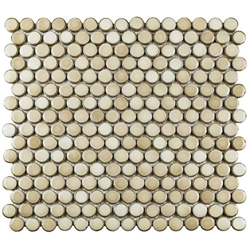 Ceramic Mosaic Wall - SomerTile FKOMPR71 Penny Truffle Porcelain Mosaic Floor and Wall Tile, 12