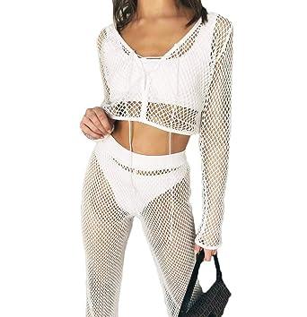 74d847253311a Sexy Women Crochet Mesh See Through Long Sleeve Swimsuit Cover Up Set Crop Tops  Long Pants