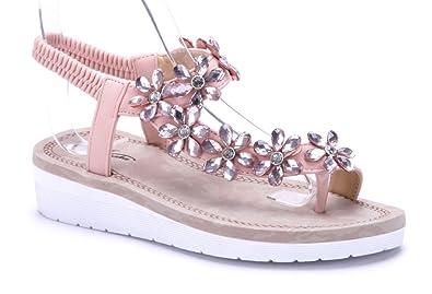 bfb8663fc6a320 Schuhtempel24 Damen Schuhe Zehentrenner Sandalen Sandaletten rosa flach  Ziersteine Blumenapplikation