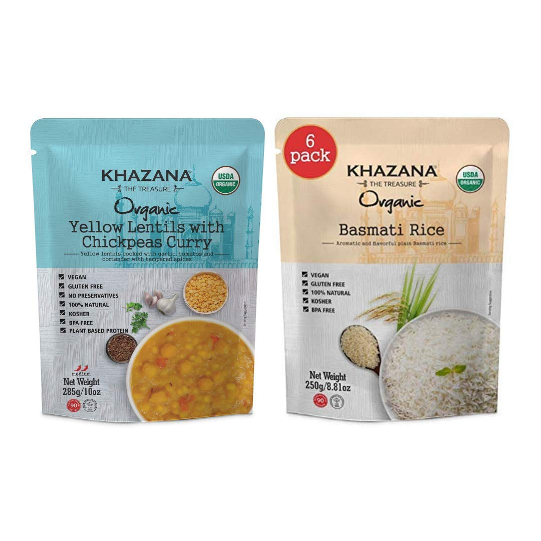 Khazana ORGANIC Yellow Lentils w/ Chickpeas Curry Meals 6-Pack + Ready to Heat Basmati Rice 6-Pack - Customized Indian Meal Bundle | Non-GMO, Vegan, Kosher, Gluten Free | Authentic Indian Cuisine