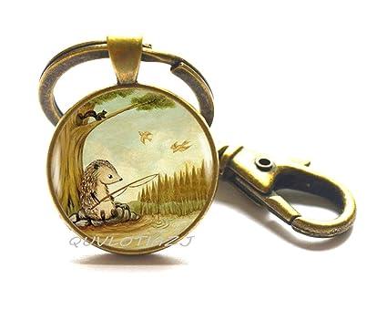 Llavero de plata con diseño de erizo, ideal como regalo para ...