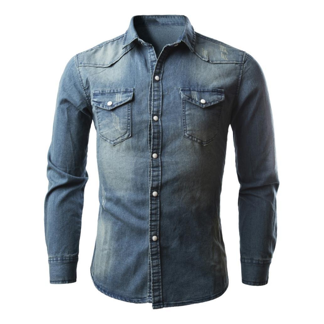 PASATO Clearance Men's Slim Thin Long Tops Shirts Retro Denim Shirt Cowboy Blouse (M, Blue)