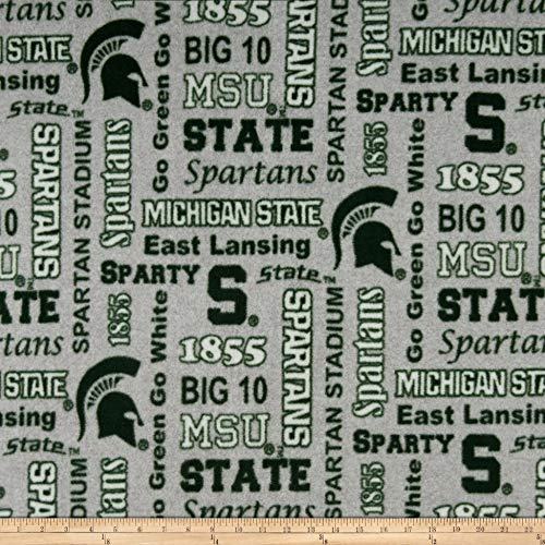(Sykel Enterprises NCAA Fleece Michigan State Heather Verbiage Fabric, Team Color, Fabric By The)