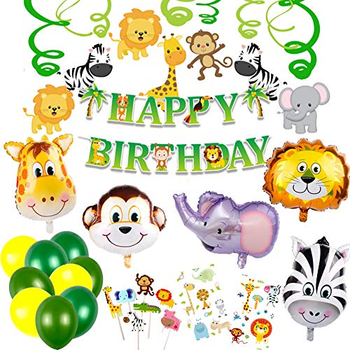 Jungle Theme Party Supplies Happy Birthday Party Decorations (Safari Animals Balloons) -