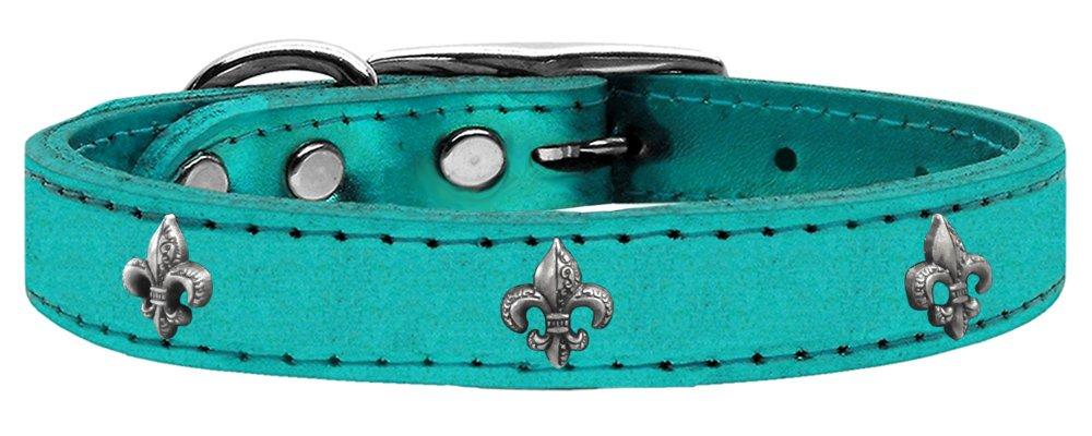 Mirage Pet Products Fleur De Lis Widget Genuine Metallic Leather Dog Collar, Size 12, Turquoise Silver