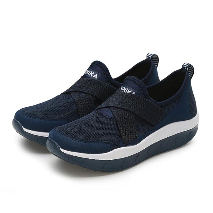 3706a24a7a08f Femme Basket Creepers Chaussure Compensé pour Mère Marche Maille Pied Large  Sneakers sans Lacet Respirant Confortable 35-44(Recommandez la Taille Un de  ...
