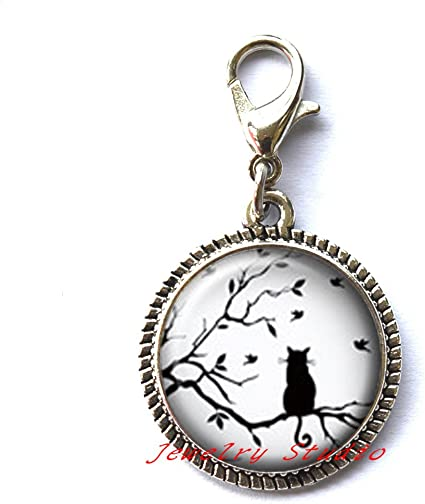 Cat on the Tree Locket Necklace clip,gift for bridesmaid Cat on the Tree jewelry gift for her glass Locket Necklace-HZ00302 Bird Silver Locket Necklace jewelry