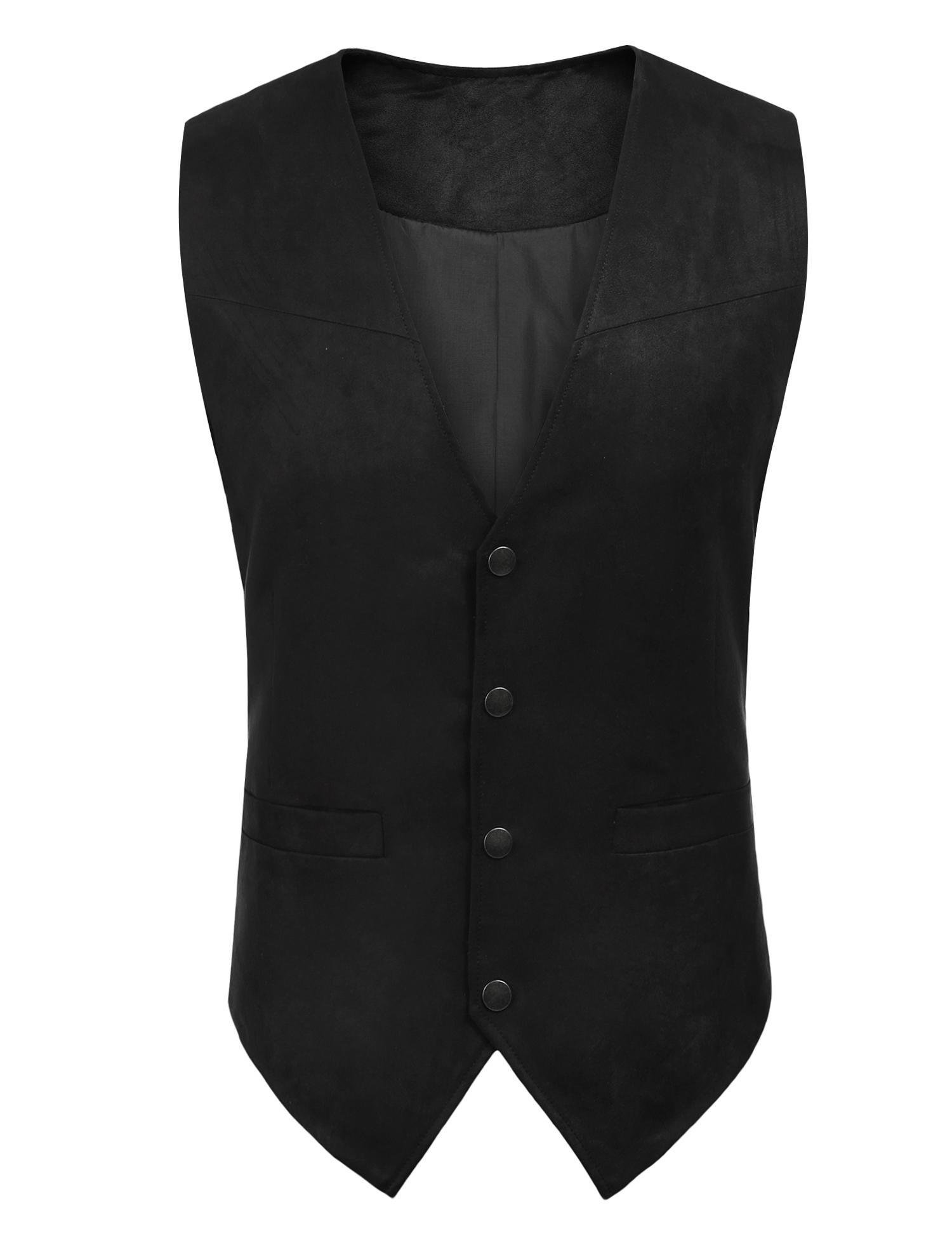 Simbama Men's Casual Western Suede Leather Vest Black M