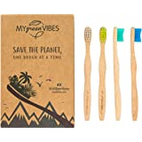 My green Vibes 4 Kids Bamboo toothbrushes - Natural Children Wooden Toothbrush - Premium Soft BPA Free bristles - for Toddler, Small Child dent 3-8 Years Old - Organic, Biodegradable Handle