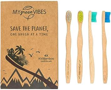 My Green Vibes 4 - Cepillo de dientes de bambú para niños ...