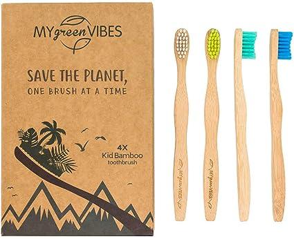 My Green Vibes 4 - Cepillo de dientes de bambú para niños - cepillo de dientes