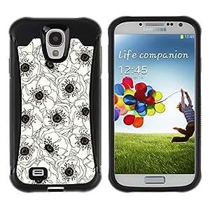 Suave TPU GEL Carcasa Funda Silicona Blando Estuche Caso de protección (para) Samsung Galaxy S4 IV I9500 / CECELL Phone case / / White Black Art Drawing Flower /