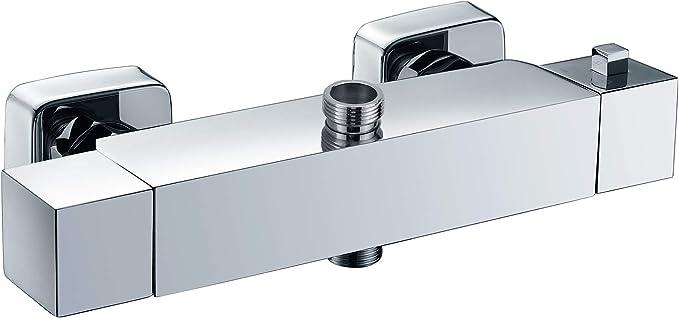 Kibath 150984 Grifo termostático cuadrado para columna de ducha ...