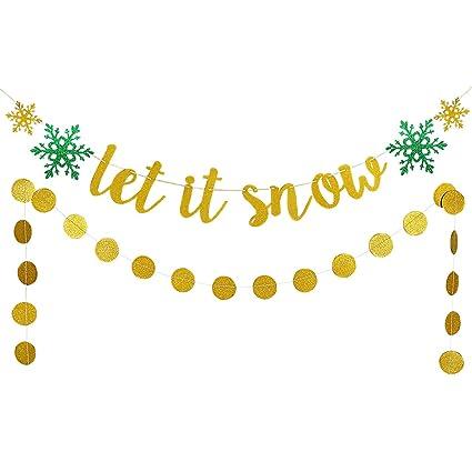 Amazon Com Christmas Snowflake Garland Decor Kit Gold Glittery Let