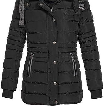 Geographical Norway damska kurtka zimowa Daleo pikowana kurtka z futrzanym kapturem: Odzież