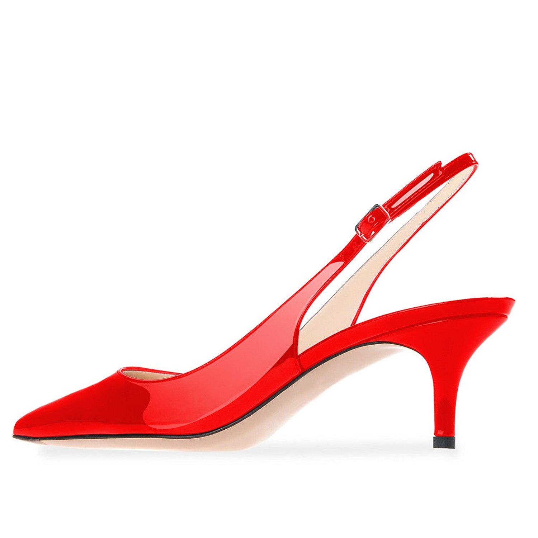 Lutalica Patent Frauen Kitten Heel Spitze Patent Lutalica Slingback Kleid Pumps Schuhe für Party Rot Patent 8dcd90