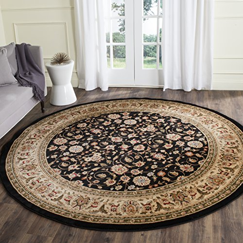 Safavieh Lyndhurst Collection LNH316B Traditional Oriental Black and Ivory Round Area Rug (5'3