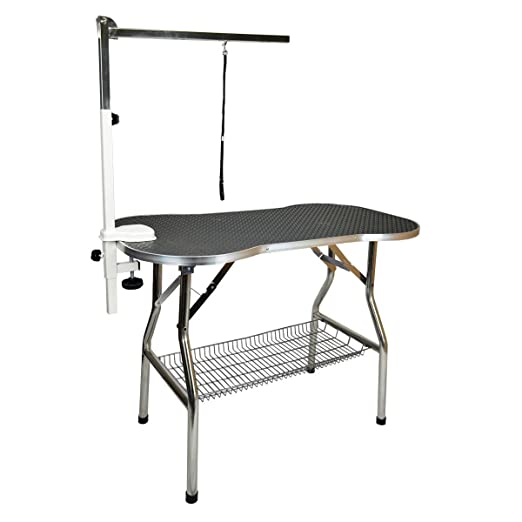 Flying Pig Heavy Duty Stainless Steel Pet Dog Cat Bone Pattern Rubber Surface Grooming Table with Arm/noose (Black, 32