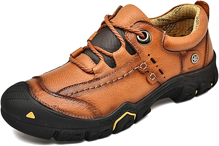 New Men casual outdoor hiking work cow leather sneaker dress lace up sport shoes