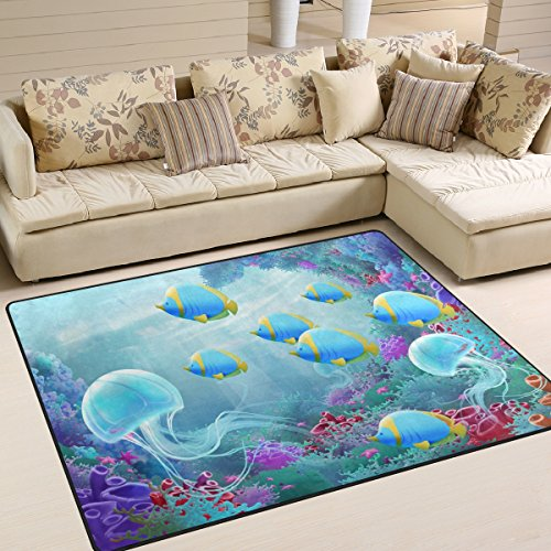 ALAZA Underwater World Beautiful Jellyfish Coral Reef Area Rug Rugs for Living Room Bedroom 7' x 5'