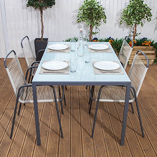 Cosmopolitan 4 Seater Grey Steel & Modern Rattan Woven Garden Dining Table and Chairs Set
