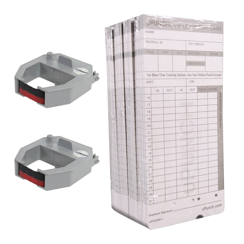 uPunch 2 Pack Ribbon/200 Card Combo for Gray HN4000 AutoAlign Calculating Time Clocks (HNRL2TCL2200) by uPunch