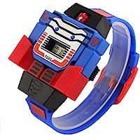 VIGOROSO Boys Girls Children Kids Digital Pu Watch Transformers Bumblebee Cartoon Wristwatch