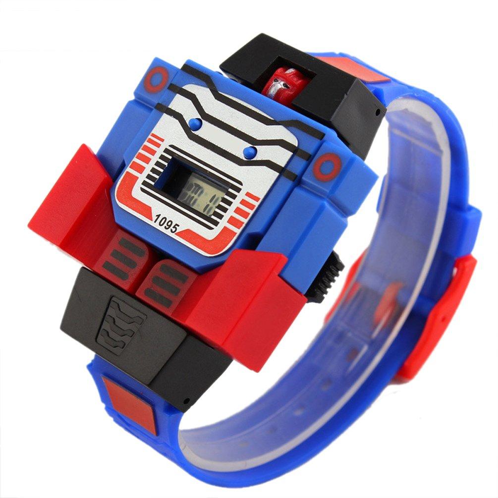 VIGOROSO Boys Children Kids Digital Pu Watch Transformers Bumblebee Cartoon Wristwatch (Blue Band)