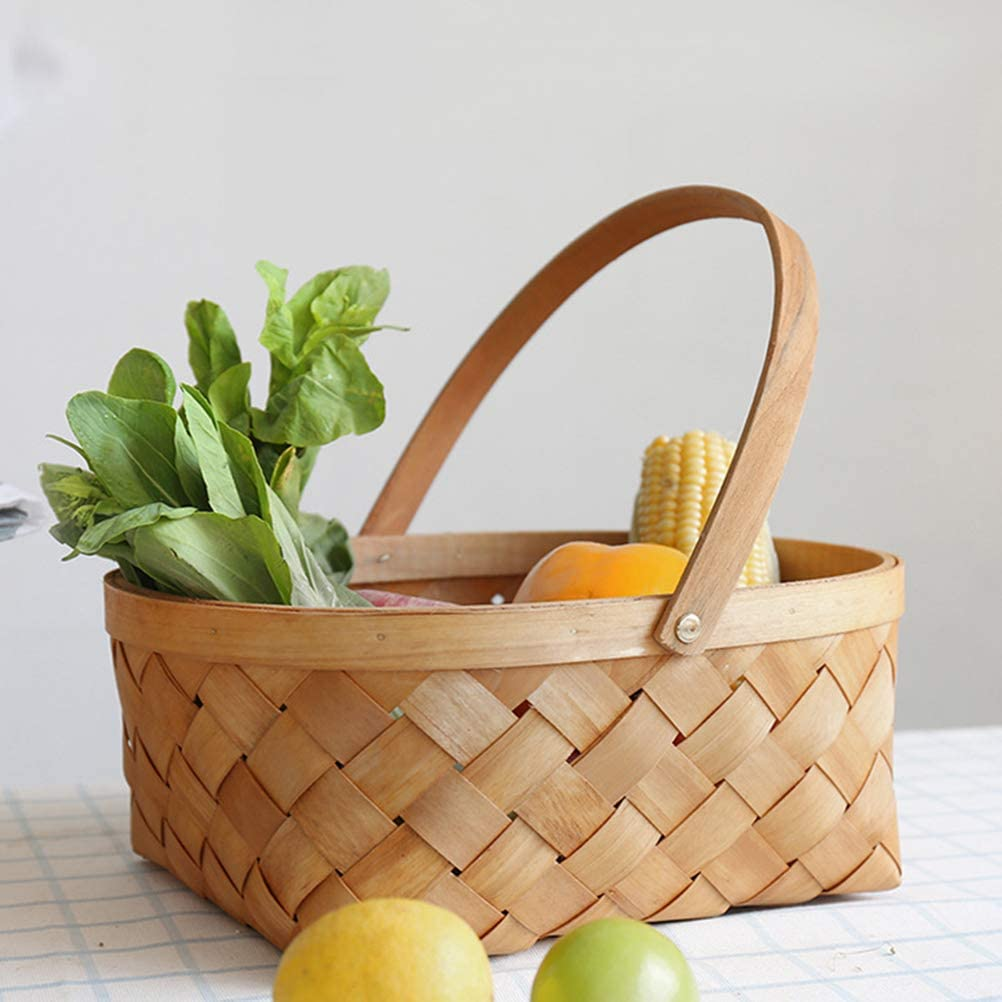 Vosarea Cesta de Mimbre con Asa Cesta Almacenaje para Lavander/ía Cocina Frutas Mediana