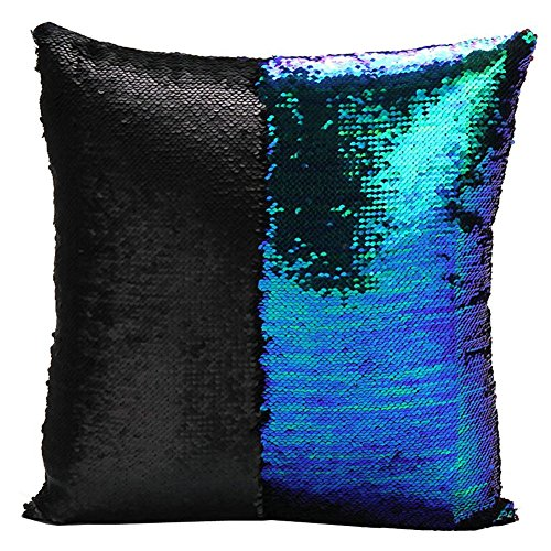 [Livingly Light Mermaid Discoloration Magic Sequins Throw Pillow DIY Free Style Creative Decor Cushion in Room Sofa Bed Car, Mermaid Green & Black, Covers] (Diy Halloween Decor)