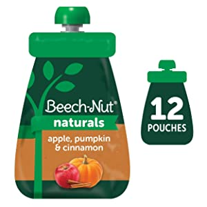 Beech-Nut Naturals Stage 2 Baby Food Pouch, Apple, Pumpkin & Cinnamon, 12 Count, 3.5 oz Pouches