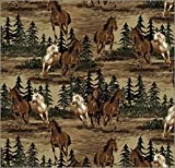 Fleece Horses Mustangs Running Roaming Animals Mustang Valley Fleece Fabric Print by The Yard (a34305b)