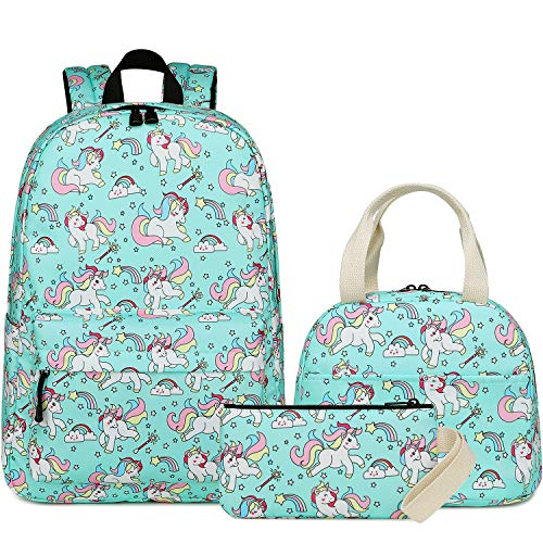 Backpack for School Girls Kids Bookbag Set School Bag with Insulated Lunch Box and Pencil Case (E0069-Water Blue) (Best Insulated Lunch Box 2019)
